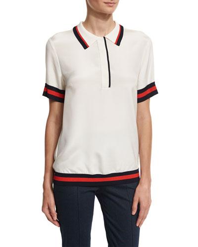 Striped-Trim Polo Shirt, White