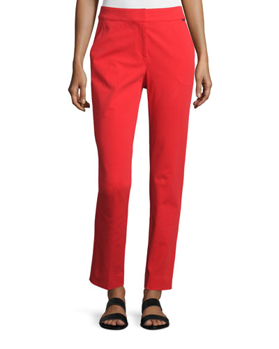 Fine Stretch Twill Slim Cropped Pants, Red