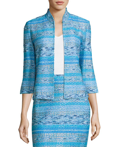 Imani Tweed Knit 3/4-Sleeve Jacket, Blue Pattern