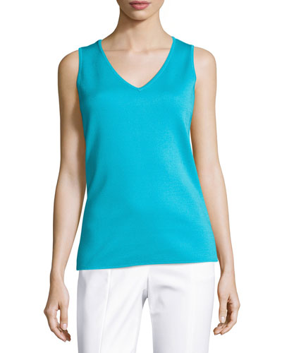 Milano Knit V-Neck Shell, Turquoise