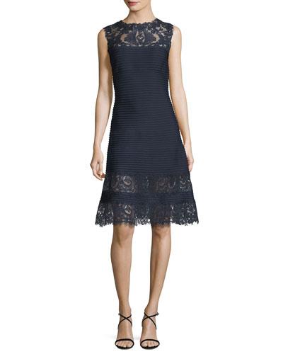 Sleeveless Lace-Trim Pintucked A-Line Dress, Blue