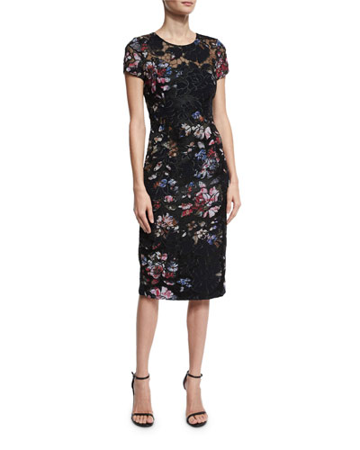 Short-Sleeve Floral Embroidered Sheath Dress, Black
