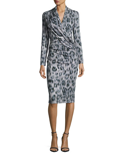 Long-Sleeve Ruched Leopard-Print Jersey Dress, Black/Gray