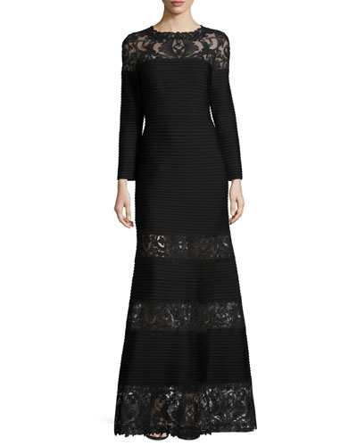 Long-Sleeve Pintucked Lace-Trim Gown, Black