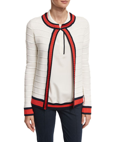 Honeycomb Inlay Striped Knit Jacket, White