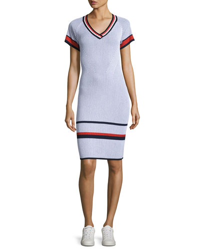 Two-Tone V-Neck Short-Sleeve Dress, White Pattern