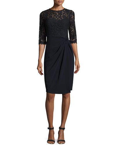3/4-Sleeve Lace & Jersey Sheath Dress, Blue