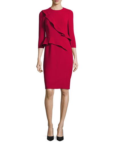 3/4-Sleeve Crepe Ruffle-Trim Sheath Dress, Red