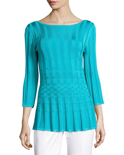 Checkered Bateau-Neck 3/4-Sleeve Top, Turquoise