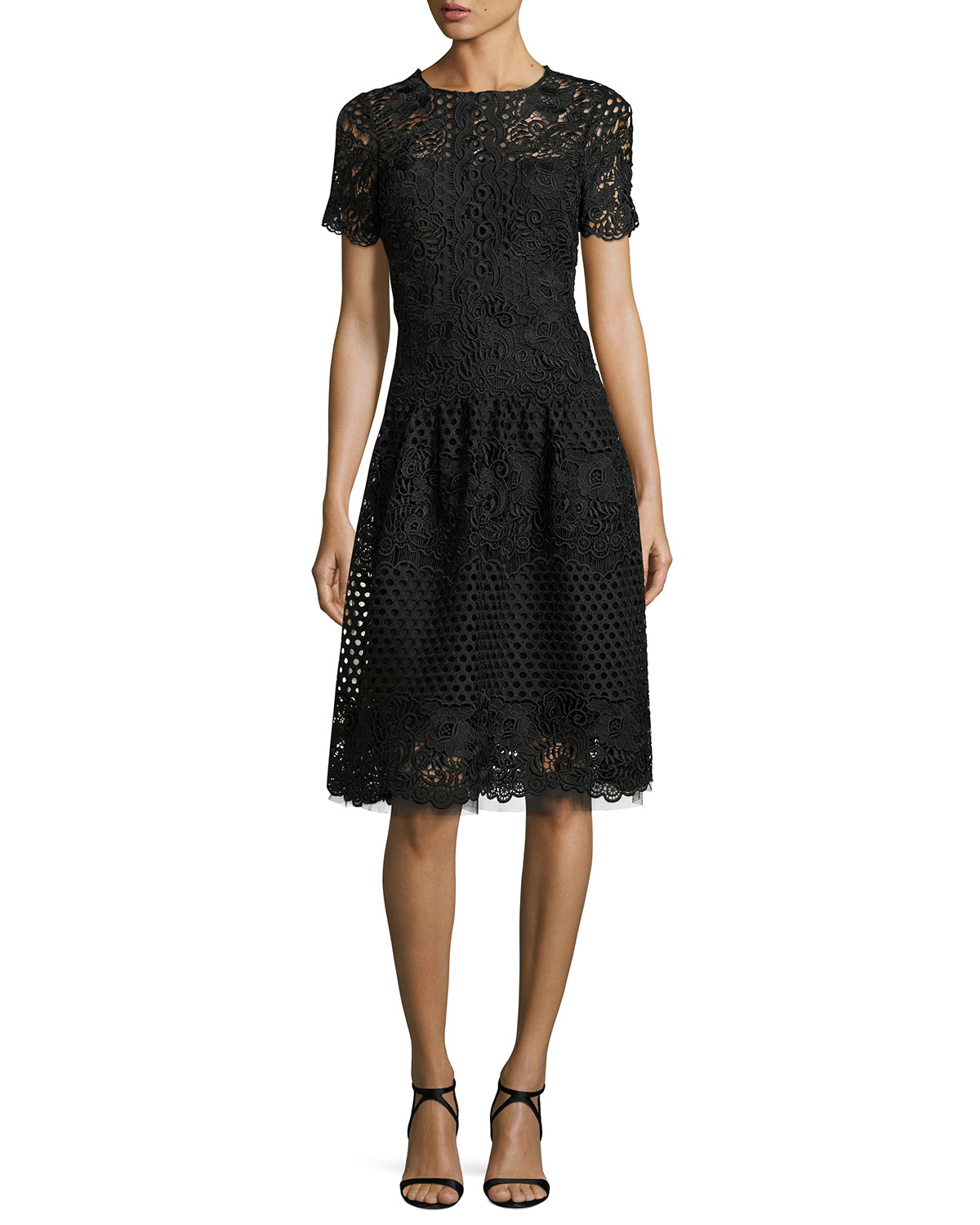 Short-Sleeve Eyelet Lace Cocktail Dress, Black
