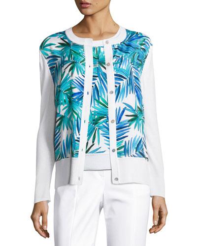 Palm-Print Crewneck Cardigan, White Pattern