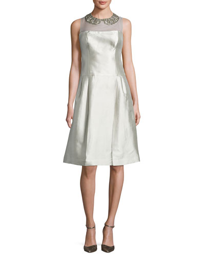 Sleeveless Taffeta Illusion Cocktail Dress, Platinum