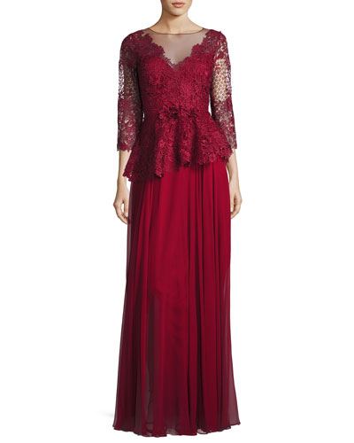 3/4-Sleeve Lace & Chiffon Peplum Gown, Red