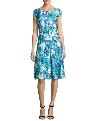 African Palm-Print Cap-Sleeve Dress, Blue Pattern