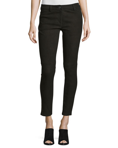 Five-Pocket Skinny-Leg Leather Jeans, Black
