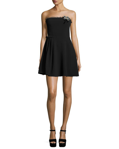 Ruby Strapless Mini Dress, Black