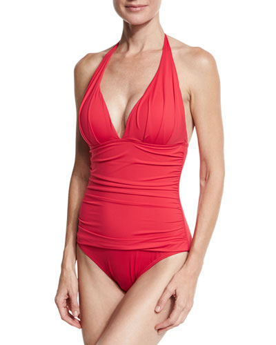 Pearl Solid Pleated Halter One-Piece Swimsuit, Red