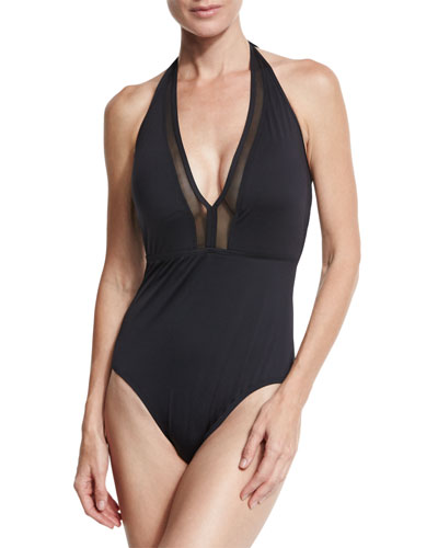 Mesh Solids Halter One-Piece Swimsuit, Black