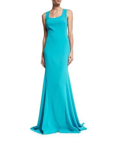 Crisscross-Back Sleeveless Gown, Turquoise
