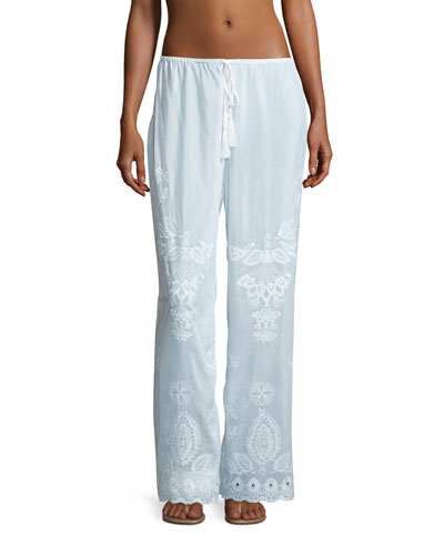 Embroidered Cotton-Silk Coverup Pants, White