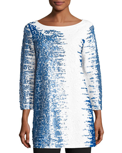 3/4-Sleeve Gradient Sequined Tunic, Petite