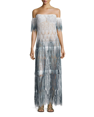 Comino Ombré Lace Maxi Coverup Dress, Blue