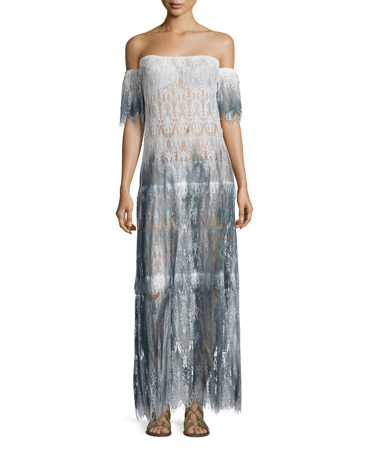 Queen & Pawn COMINO OMBRÉ LACE MAXI COVERUP DRESS, BLUE