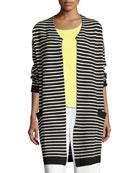 Striped Long Sweater Coat
