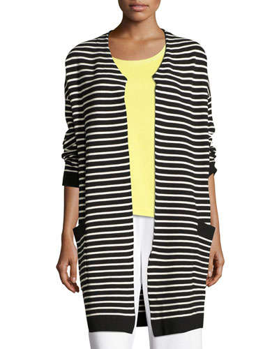 Striped Long Sweater Coat, Plus Size