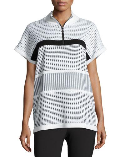Two-Tone Illusion Grid Dolman-Sleeve Sweater, White/Black