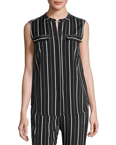 Sahara Striped Button-Front Shell, Black/White