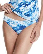 Caribbean Ink Reversible Hipster Swim Bikini Bottom, Blue/White