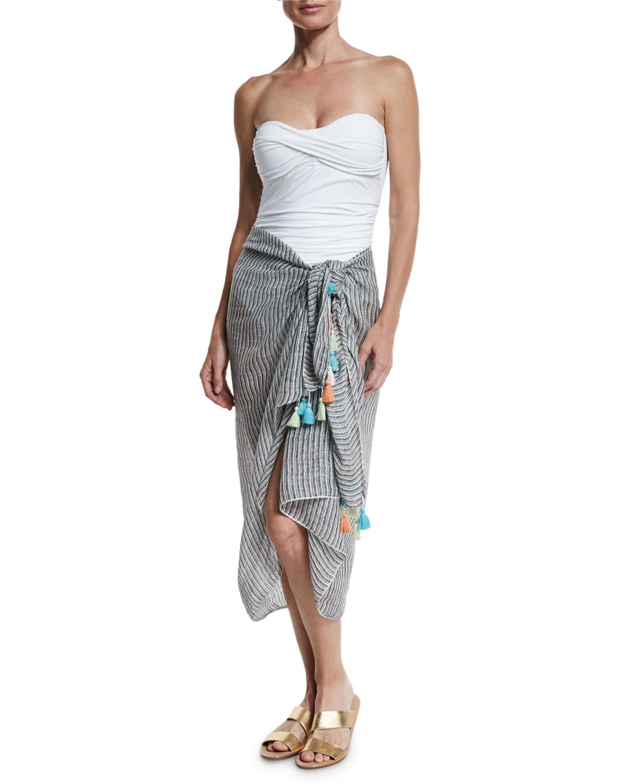 Fine-Strap Tassel Linen Sarong, Black/White