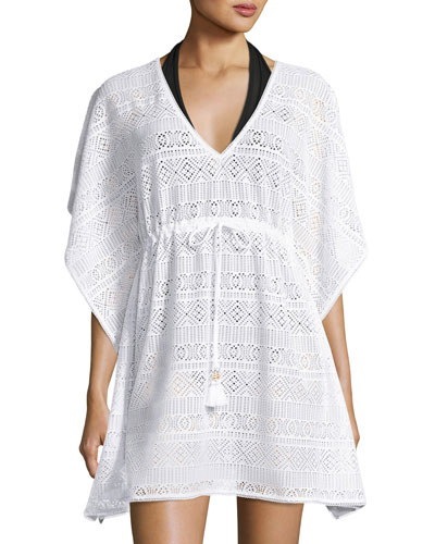 Short Crocheted Coverup, White
