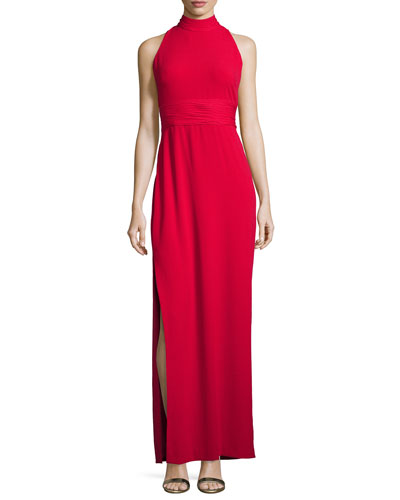 Sleeveless Silk-Trim Crepe Gown, Ruby