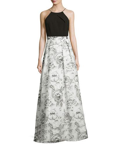 Sleeveless Ponte & Rose Crepe Gown, White/Black