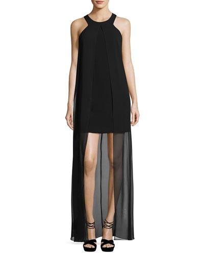 Beacon Sleeveless Mini Dress w/ Overlay, Black