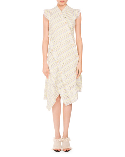 Plaid Boucle Asymmetric-Button Dress, Yellow/Gray