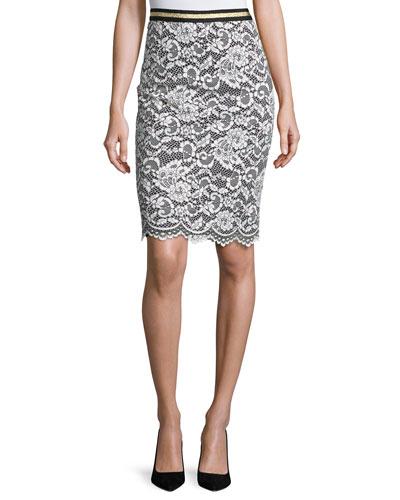 Paltrow Lace Pencil Skirt, Whitewash/Black
