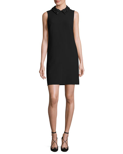 Marta 2 Sleeveless Collared Stretch Crepe Shift Dress, Black