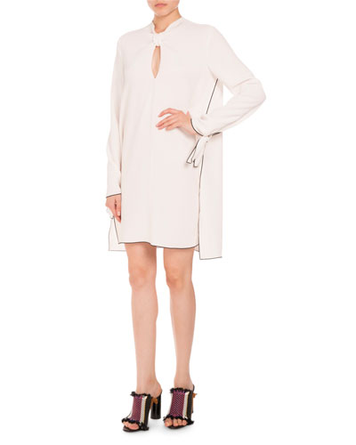 Knotted-Neck Long-Sleeve Dress