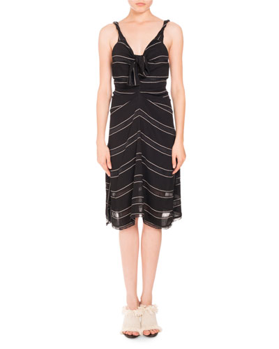 Pinstriped Gauzy Crepe Cami Dress, Black/White