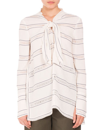 Striped Tie-Neck Side-Slit Tunic, White/Blue