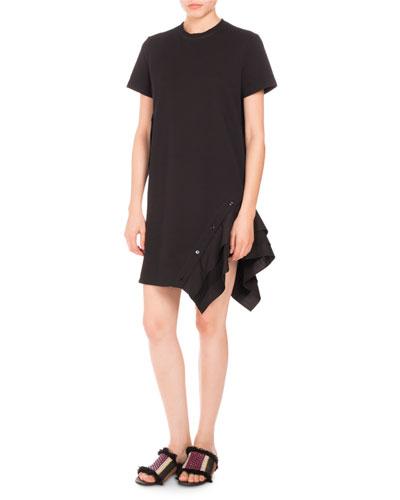 Ruffled-Side Short-Sleeve Dress, Black
