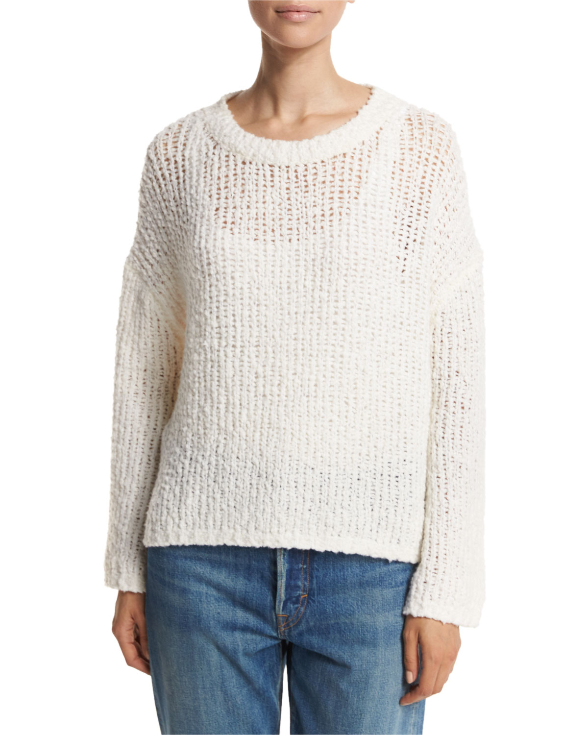 Textured Boxy Pullover, White