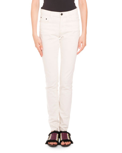 Five-Pocket Skinny Jeans, Cream