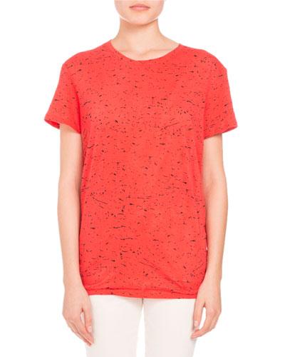Splatter-Print Tie-Back Tee, Coral