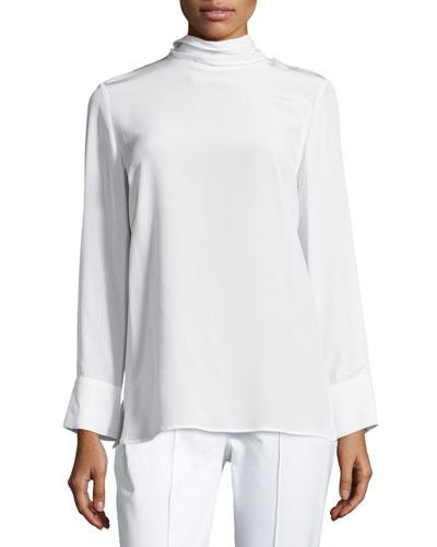 Mock-Neck Long-Sleeve Silk Tunic