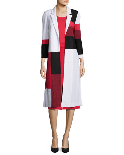 Colorblock Long Knit Jacket