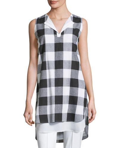 Sleeveless Gingham Layered Shirt, Plus Size